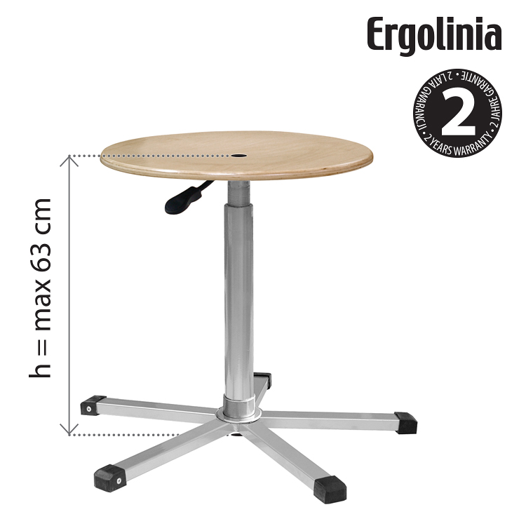 Industrial rotary stool (plywood) - pneumatic lift - ERGOLINIA EVO3
