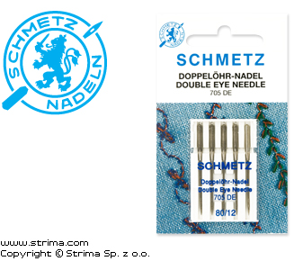 705 DE VCS 80 DOUBLE EYE - SCHMETZ needles for household machines 705 DE VCS, 5pcs. 5x80