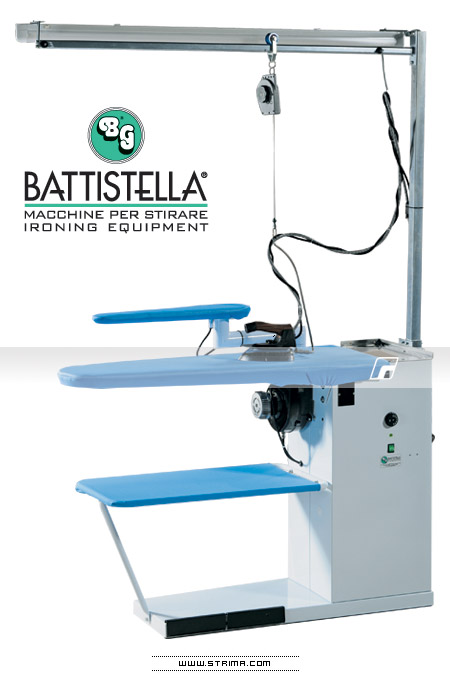 Ironing table with iron lifting system