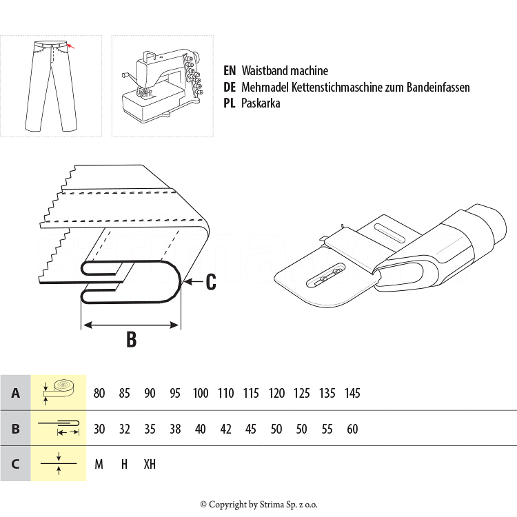 UMA-110-O-SI 90/35 XH - Elbow Binder For Waist Band (Automat)