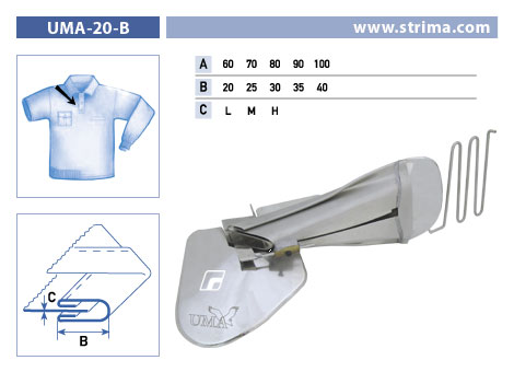UMA-20-B 100/40 L - Attachment To Make Button Stay On Polo Shirt