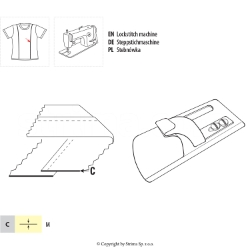 Fabric attaching guide, for lockstitch machine