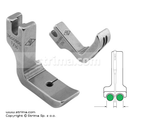 P69D1/16 [36069DG 1/16] - Piping twosided foot 1.6mm