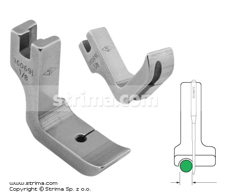 P69L1/8 [36069L 1/8] - Piping foot, left 3.2mm
