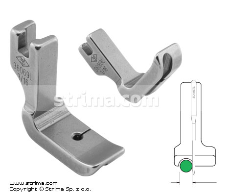 P69L3/16 [36069L 3/16] - Piping foot, left 4.8mm
