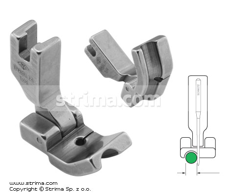 P69LH1/4 - Hinged piping foot, left 6.4mm