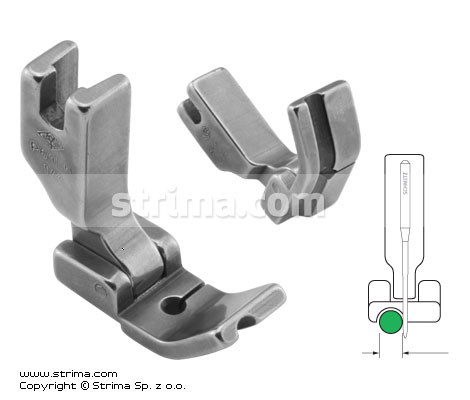 P69LH1/8 - Hinged piping foot, left 3.2mm