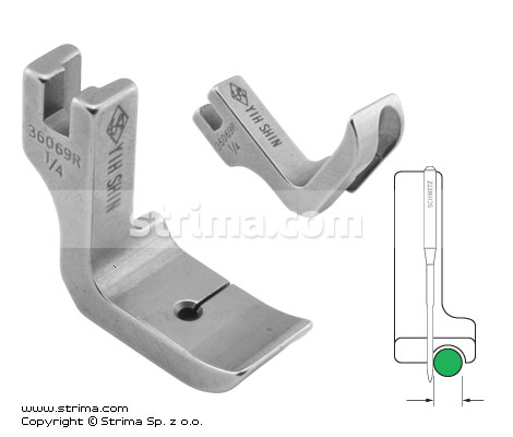 P69R1/4 [36069R 1/4] - Piping foot, right 6.4mm