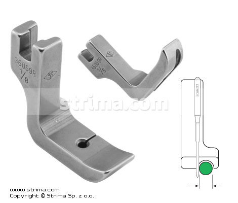 P69R1/8 [36069R 1/8] - Piping foot, right 3.2mm