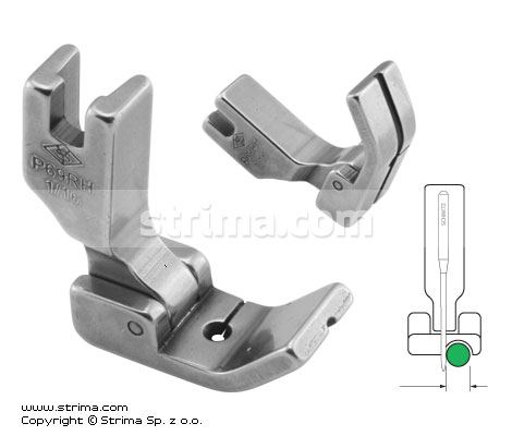 P69RH1/16 - Hinged piping foot, right 1.6mm