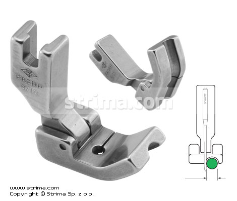 P69RH3/16 - Hinged piping foot, right 4.8mm