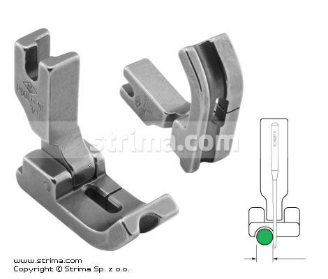 Hinged piping foot, needle feed, left 4.8mm