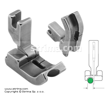 Hinged piping foot, needle feed, left 8.0mm