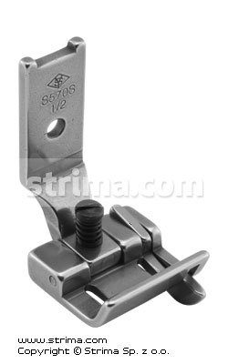 "Foot for two needle lockstitch machine 1/2"" with right gauge and adjustable runner angle"