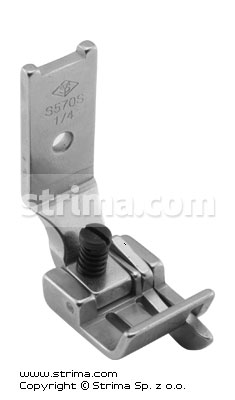 "Foot for two needle lockstitch machine 1/4"" with right gauge and adjustable runner angle"