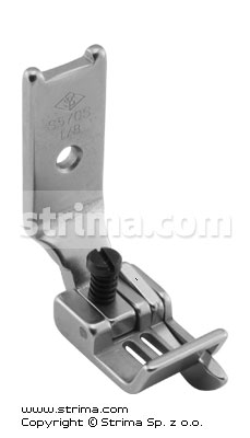 "Foot for two needle lockstitch machine 1/8"" with right gauge and adjustable runner angle"