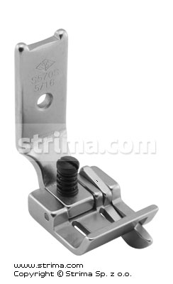 "Foot for two needle lockstitch machine 5/16"" with right gauge and adjustable runner angle"