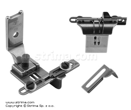 G10-570-1/8-CRL - Foot for two needle lockstitch machine 3,2mm with tape guides and left and right gauges