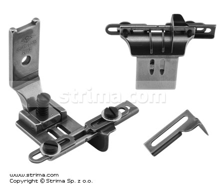 Foot for two needle lockstitch machine 4,8mm with tape guides and left and right gauges