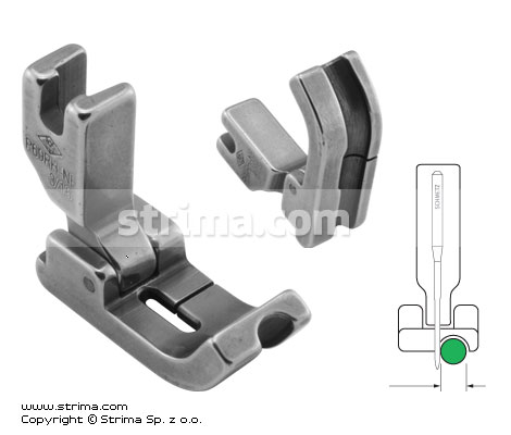 Hinged piping foot, needle feed, right 4.8mm