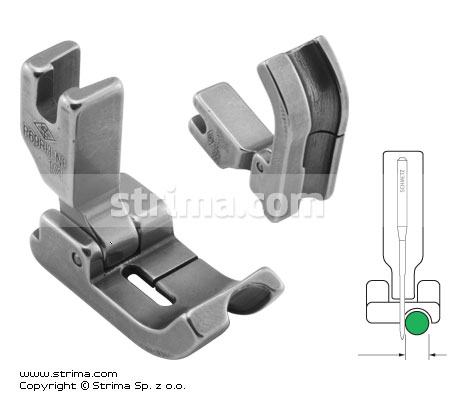 P69RH-NF 1/4    - Hinged piping foot, needle feed, right 6.4mm