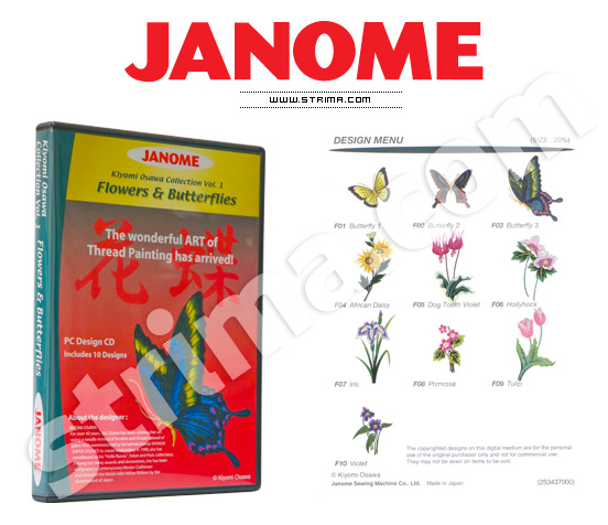 JANOME embroidery collection, vol. 1 - flowers and butterflies - JANOME EMBROIDERY COLLECTION - FLOWERS
