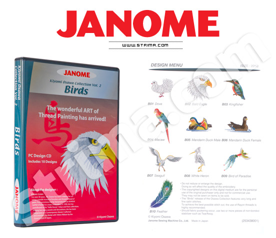 JANOME EMBROIDERY COLLECTION - BIRDS - JANOME embroidery collection, vol. 2 - birds
