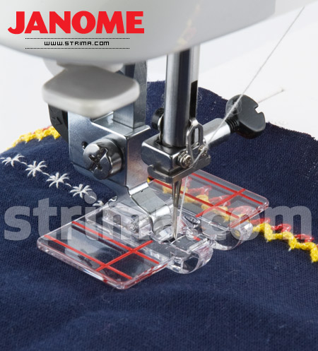 Foot for parallel stitch guiding (for machines with rotary hook)