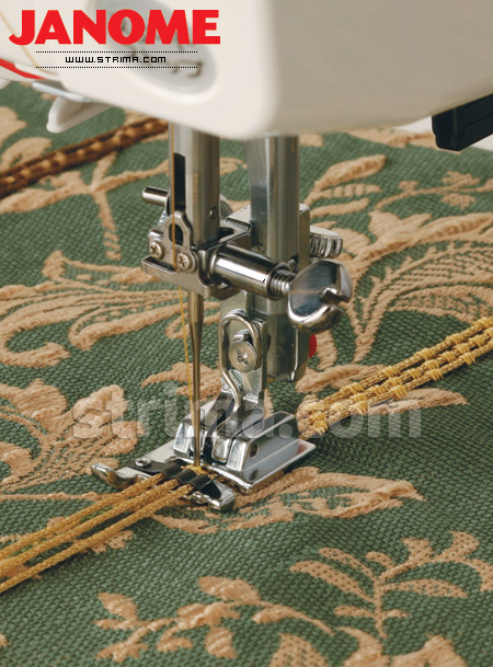 Foot for sewing on a decorative cords (for machines with horizontal rotary hook)