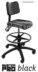 SYSTEM PRO BLACK chair with wheels for soft floors with relaxing footrest
