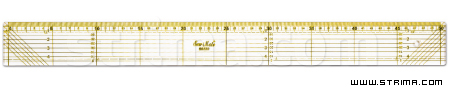0550-2 - Quilting ruler, 50x500 mm, metric scale, yellow and black
