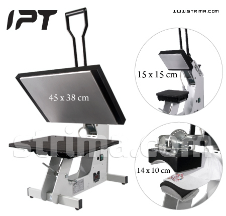IPT 901/230V - IPT fusing plate press for transfers, crystals and rhinestones, with 3 interchangeable sets of plates