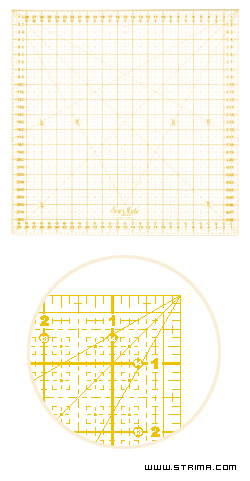 Quilting ruler, metric scale, 300x300 mm, yellow
