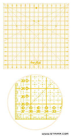 Quilting ruler, metric scale, 380x380 mm, yellow