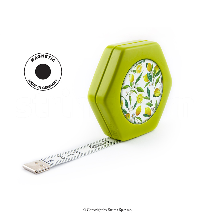 HEXAGON MAGNETIC GREEN - Rollfix tailor tape measure - reversible 150cm