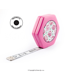 Rollfix tailor tape measure - reversible 150cm - HEXAGON MAGNETIC PINK