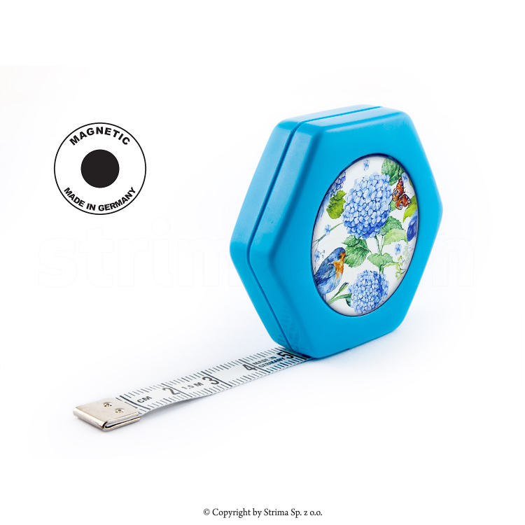 HEXAGON MAGNETIC BLUE - Rollfix tailor tape measure - reversible 150cm