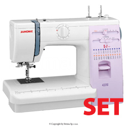 Multifunctional sewing machine - promotional set with 3 presser feet and Schmetz needles