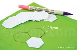 3/4 inch hexagon precut paper for patchwork, bag of 100 pcs.
