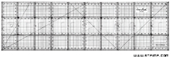 Quilting ruler, 150x500 mm, metric scale, black - 1550