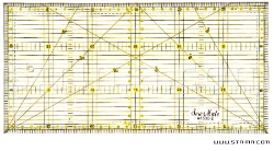 Quilting ruler, 150x300 mm, metric scale, yellow and black