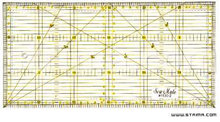 1530-2 - Quilting ruler, 150x300 mm, metric scale, yellow and black