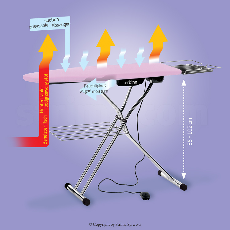 Ironing table board type 120x45cm, with suction and heated surface