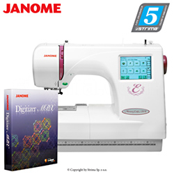 Computerized embroidery machine - set with embroidery design software JANOME DIGITIZER MBX