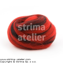 Worsted wool 23 microns - black-red melange - 28M P-2805M