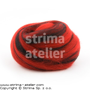 28M P-2805M - Worsted wool 23 microns - black-red melange