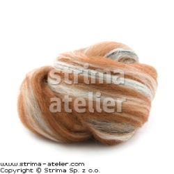 Worsted wool 23 microns - ginger-black-white melange - 28M P-2743M