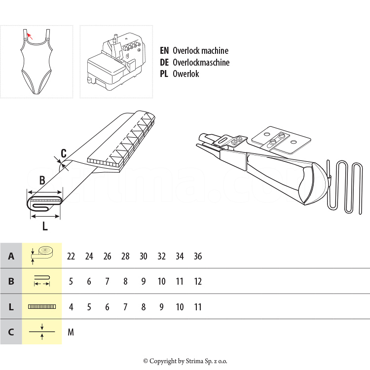 UMA-76-PG 22/5/4 M - Spaghetti attachment with guide for elastic