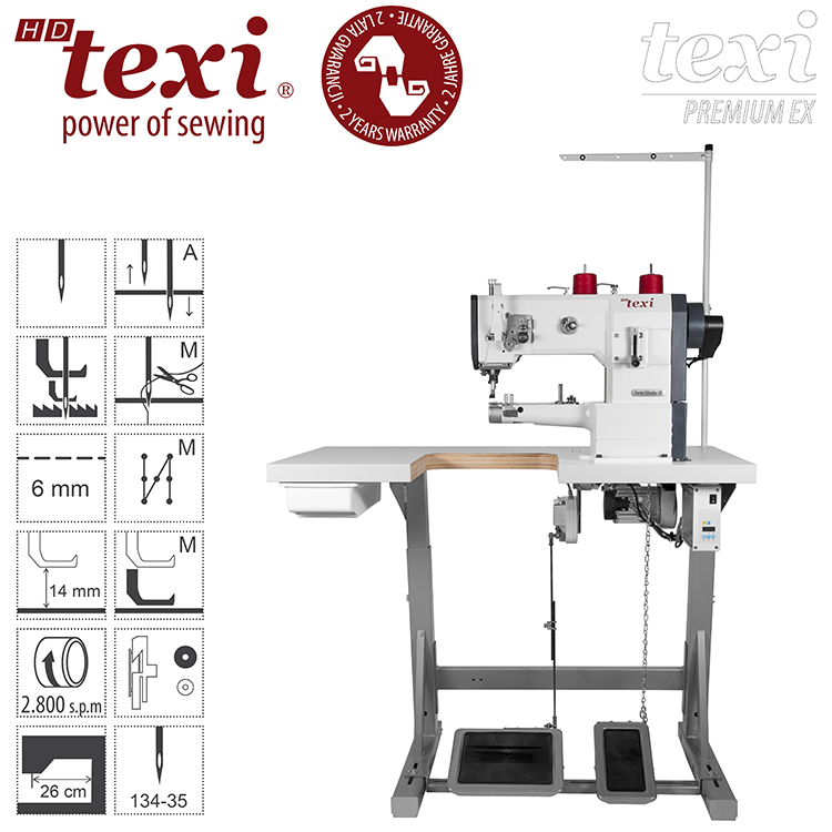 TEXI HD FORTE CILINDRO-B UF PREMIUM EX - Upholstery and leather lockstitch cylinder-bed binding machine, unison feed, large hook, AC Servo motor, needle positioning - with 2 years warranty