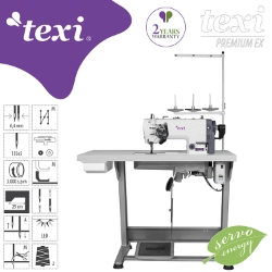 Two needle lockstitch machine with needle feed, AC Servo motor and needle positioning - complete sewing machine with 2 years warranty - TEXI TWIN MS PREMIUM EX